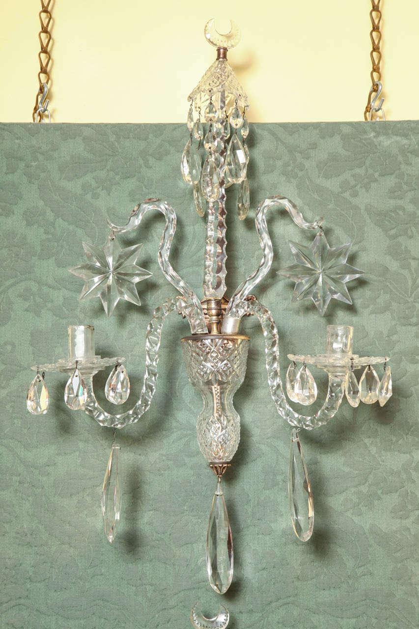 Antique Georgian Style Cut Crystal Two Light Wall Lights, English, circa 1870 at 1stdibs