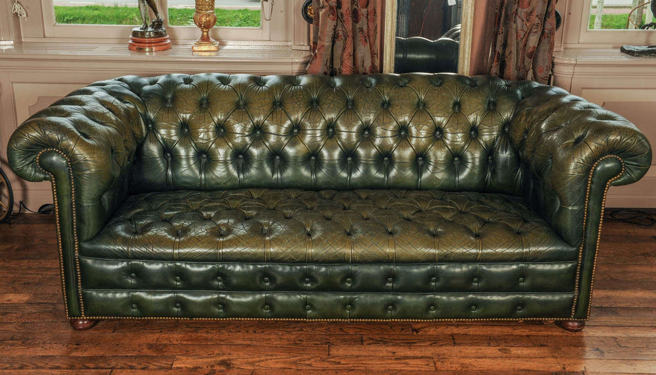 Attirant Vintage Green Leather Chesterfield Sofa For Sale. Fully Coil Spring With  Brass Studs. The Original Green Leather Beautifully Worn.