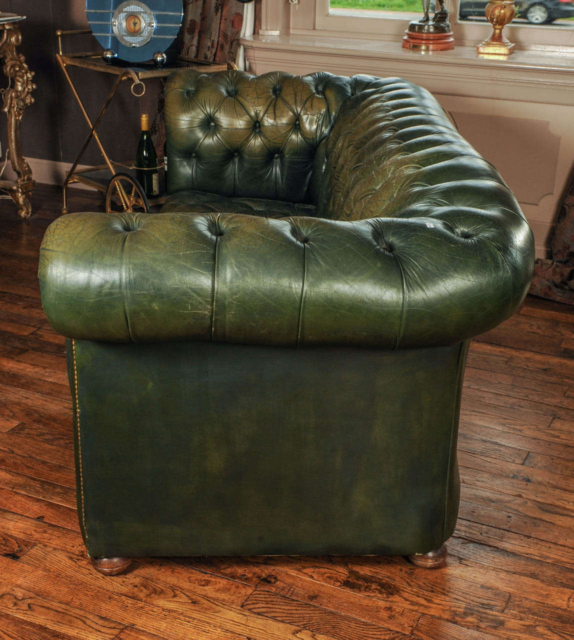 Blue leather chesterfield sofa at 1stdibs - Vintage Green Leather Chesterfield Sofa 6