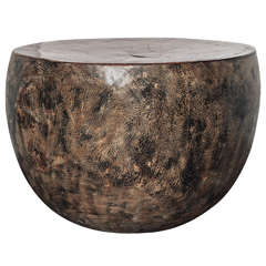 Organic Half Round Polished Lychee Wood End Tables