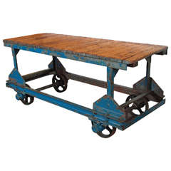 "Industrial Factory Cart as Console Table, 35""H"