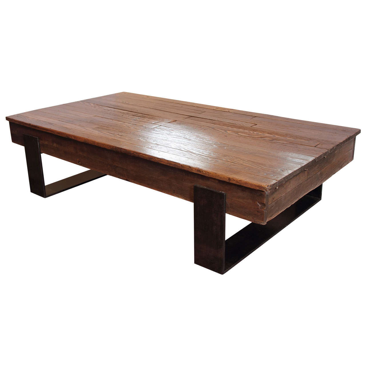 French Proctor 39 S Oak Coffee Table On Metal Stand At 1stdibs
