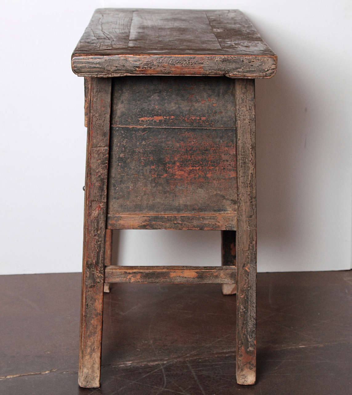 Vintage Table Hardware : Antique elm brown small drawer side table at stdibs