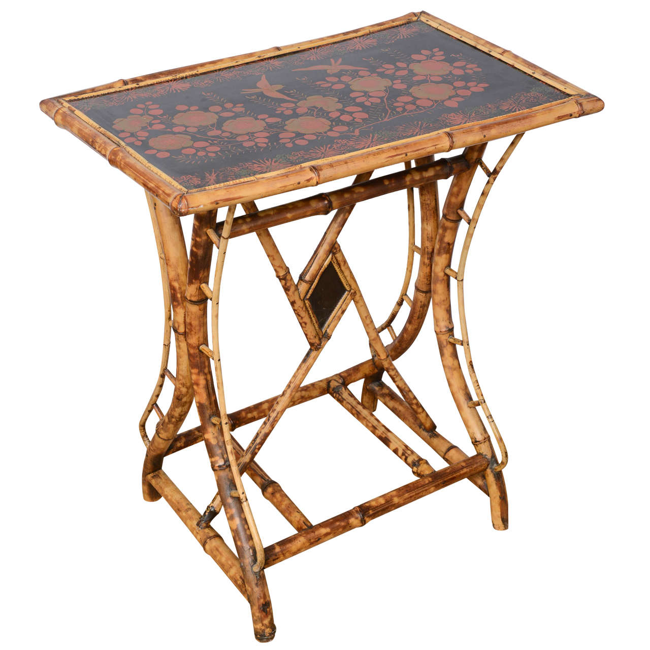 19th century english bamboo tray top side table at 1stdibs for Bamboo side table