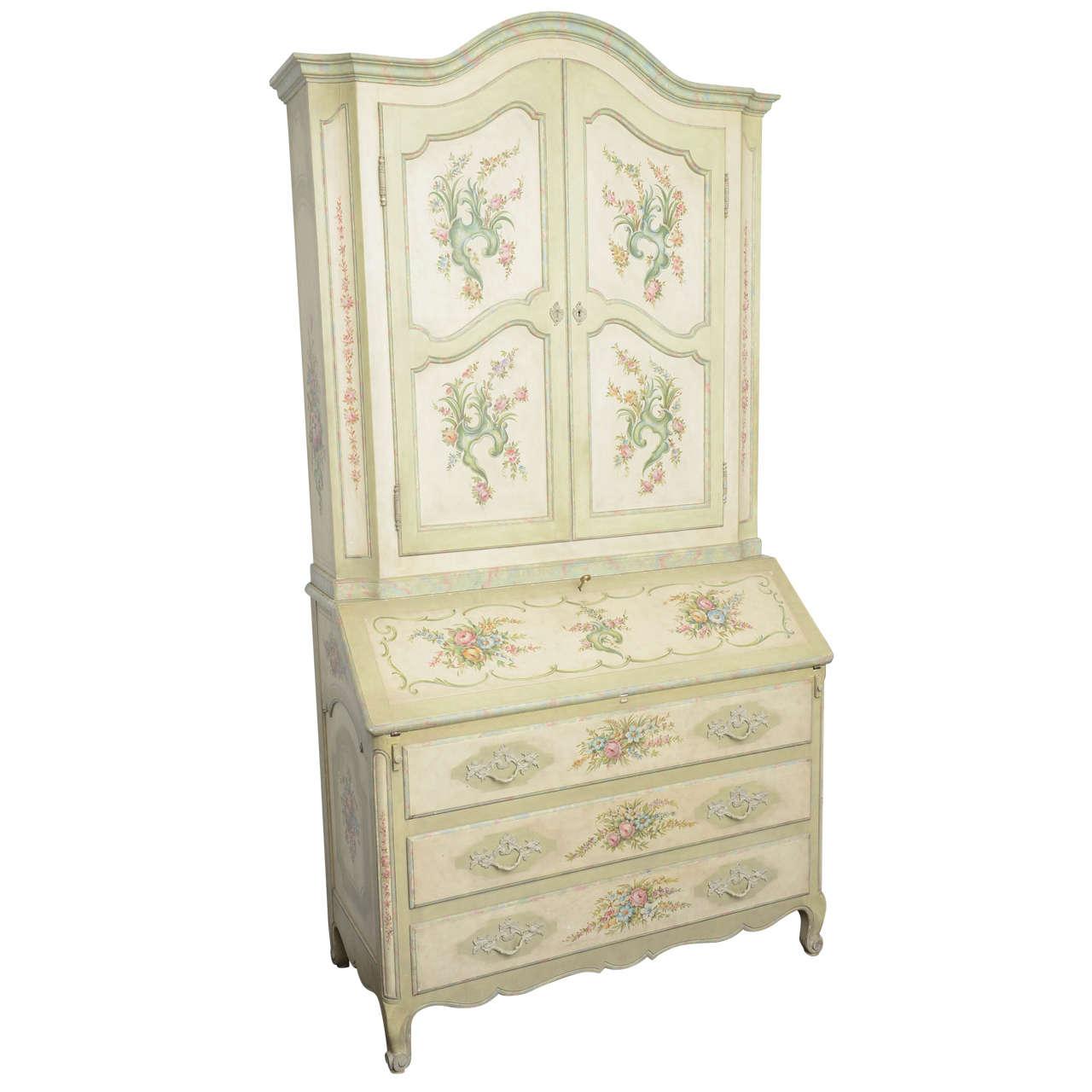 Superb antique style hand painted italian vintage bureau bookcase louis xv st - Bureau style vintage ...