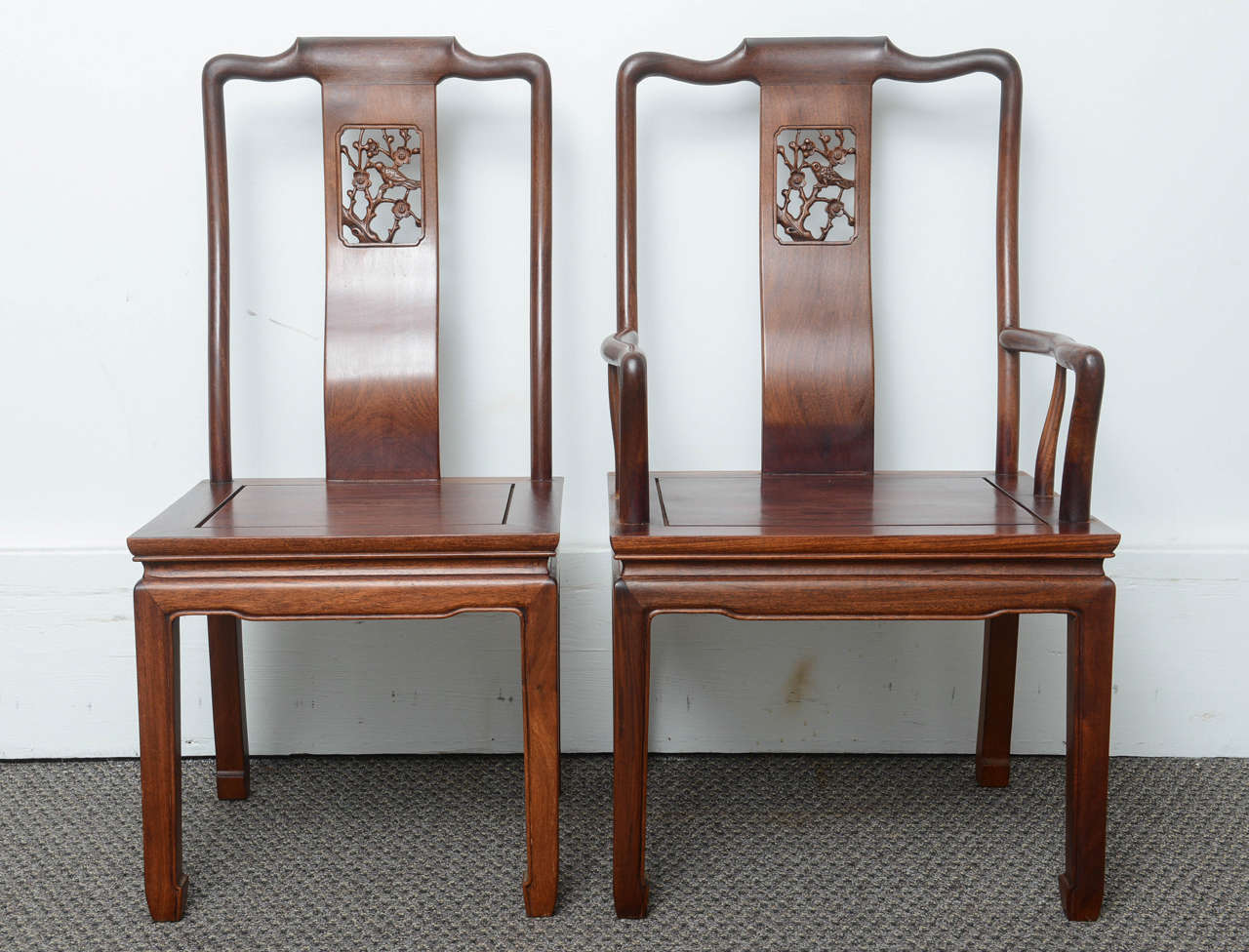 These are a very nice set of eight dining chairs consisting of two-arm  chairs - Set Of Eight Vintage Dining Chairs In The Asian Antique Style At 1stdibs
