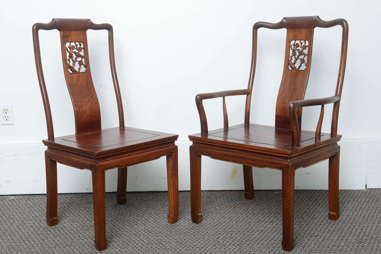 Superbe Thai Set Of Eight Vintage Dining Chairs In The Asian Antique Style For Sale