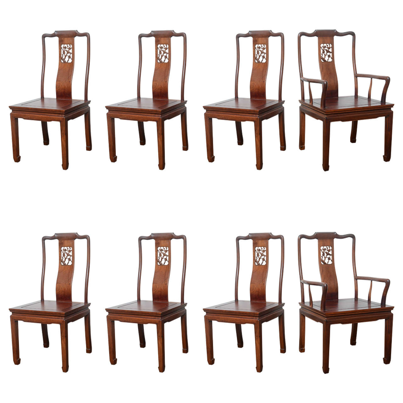Set Of Eight Vintage Dining Chairs In The Asian Antique Style For Sale