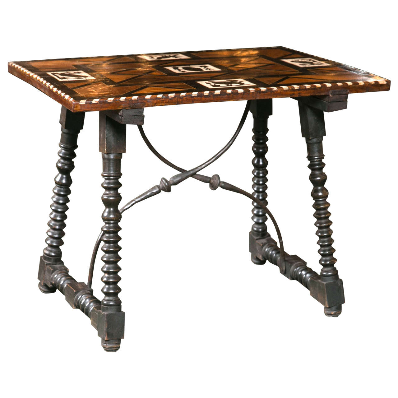 Spanish rosewood and bone low table at 1stdibs for Table in spanish