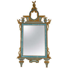Gilt and Blue Painted Italian Looking Glass Mirror