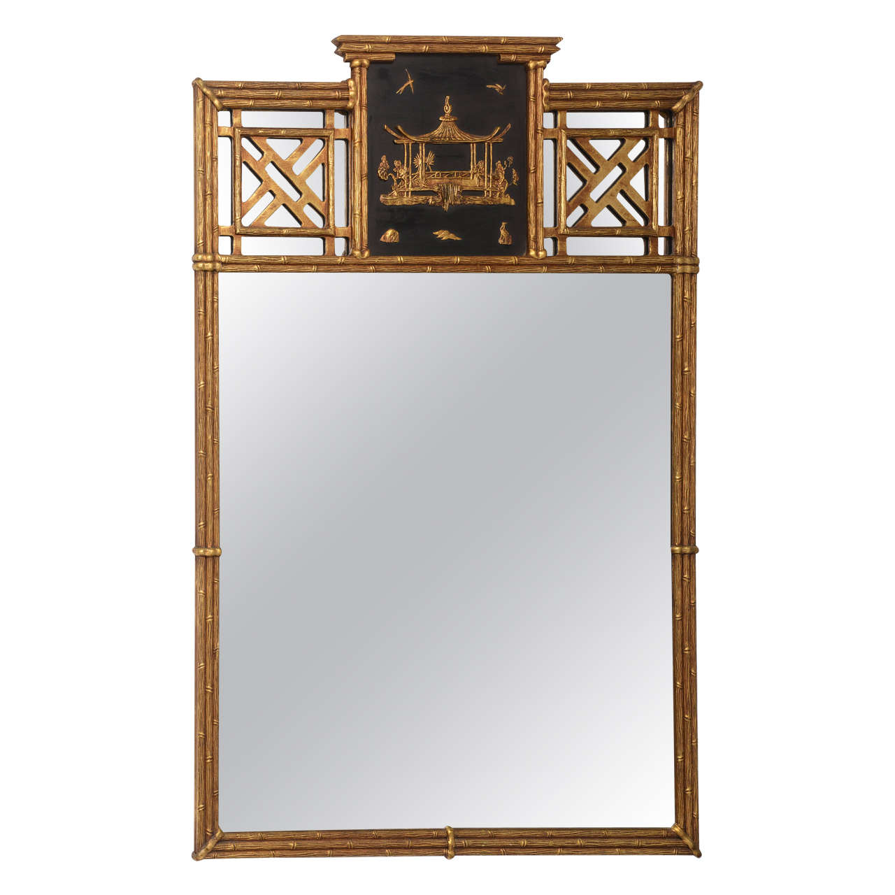 Hollywood regency style chinese chippendale over mantle for Asian style mirror