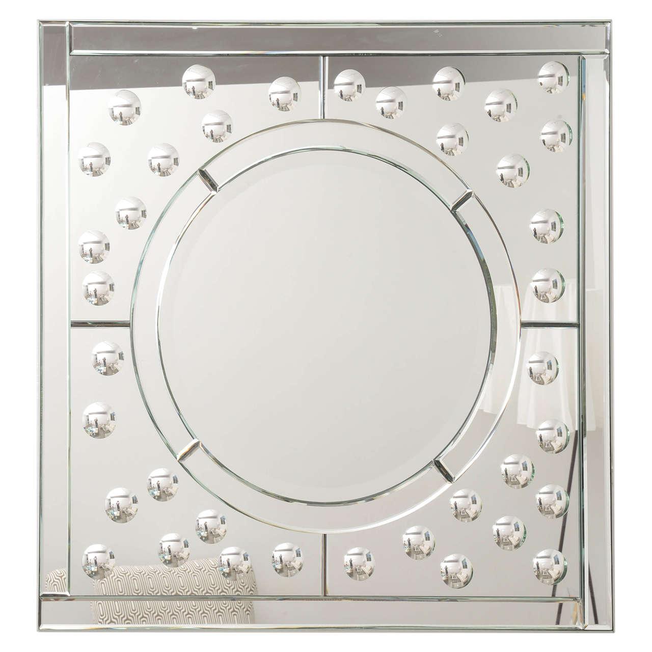 Square Mirror with Bullseye Motif