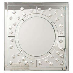 Square Mirror with Bullseye Motif