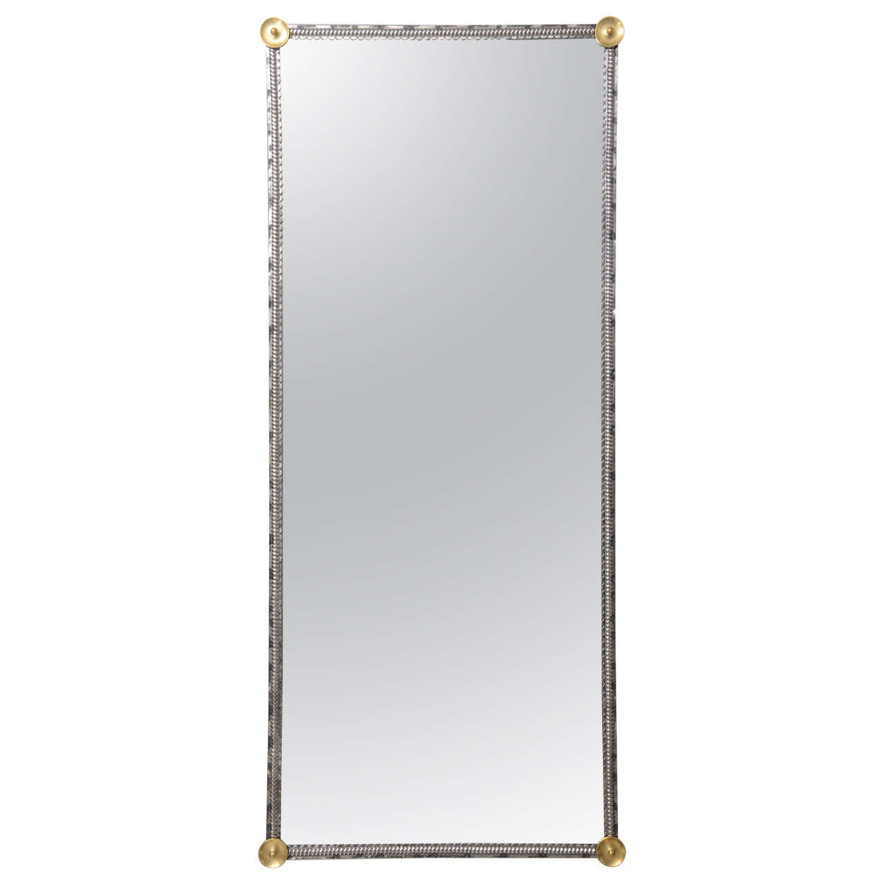 American Art Deco  Steel and Bronze Wall Mirror