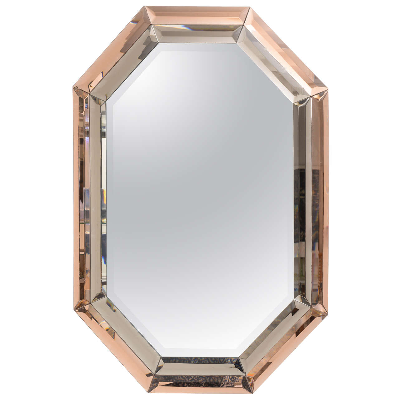 Mid century octagonal tri colored mirror american 1970s for Octagon beveled mirror