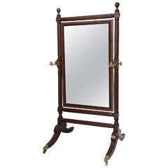 George IV Mahogany Cheval Mirror with Original Brasses and Mirror, 19th Century