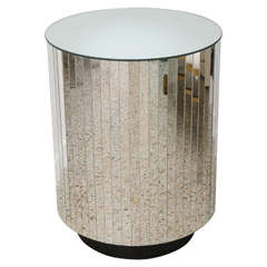 Circular Table or Pedestal with Mirrored Strips:  1980s