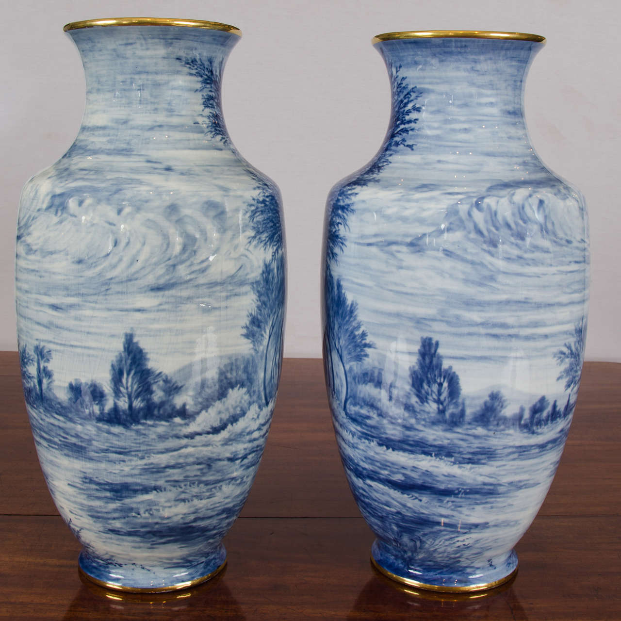 Pair of early 20th century french blue and white vases for sale at this stunning pair of tall slender shaped limoges vases has the most delightful and detailed hand reviewsmspy