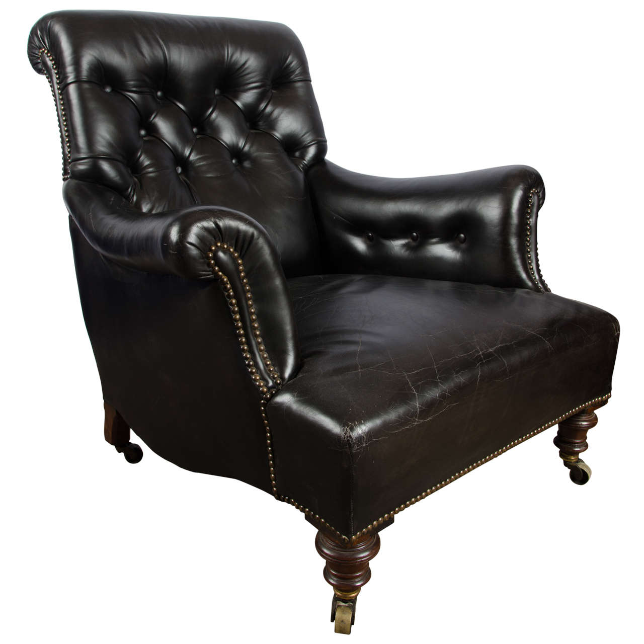 Victorian Black Leather Upholstered Armchair At 1stdibs