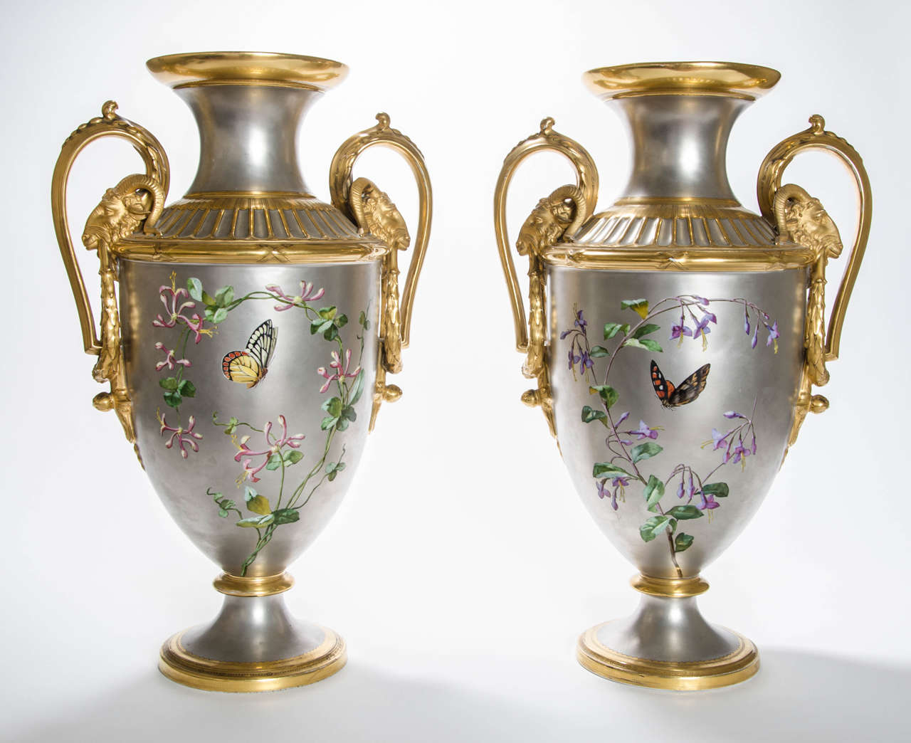 Pair of 19th Century Platinum Ground Two Handled Vases by P. Soustre 2