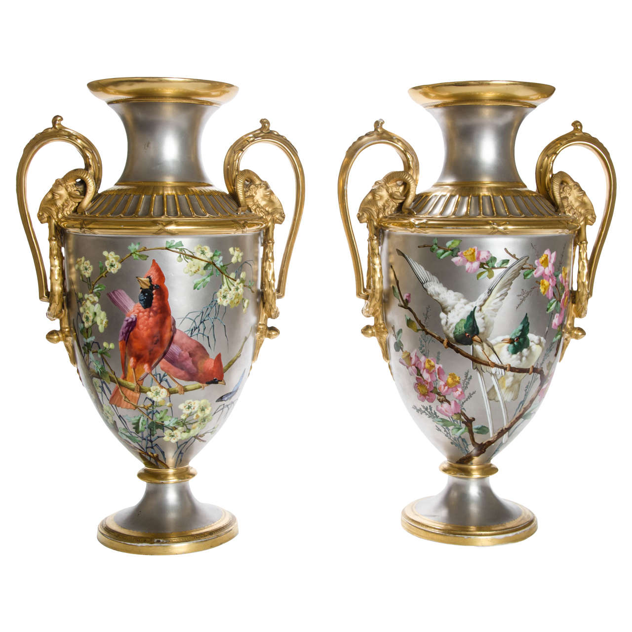 Pair of 19th Century Platinum Ground Two Handled Vases by P. Soustre 1
