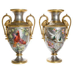 Pair of 19th Century Platinum Ground Two Handled Vases by P. Soustre