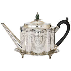 George III Antique Silver Teapot and Stand