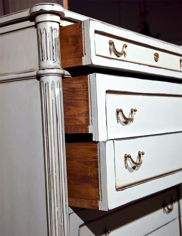Wood Six-Drawer Hi Chest Louis XVI Style Maison Jansen Stamped For Sale