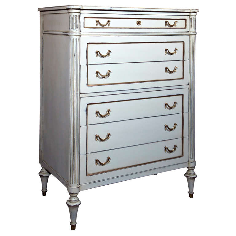 Six-Drawer Hi Chest Louis XVI Style Maison Jansen Stamped For Sale