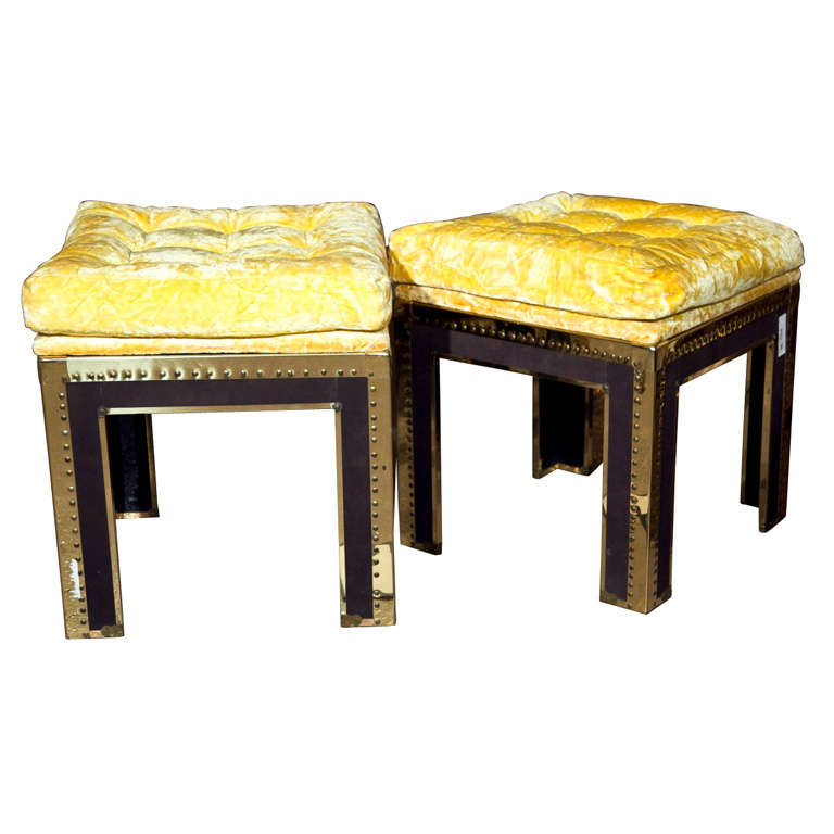 Pair of Brass Tacked Footstools