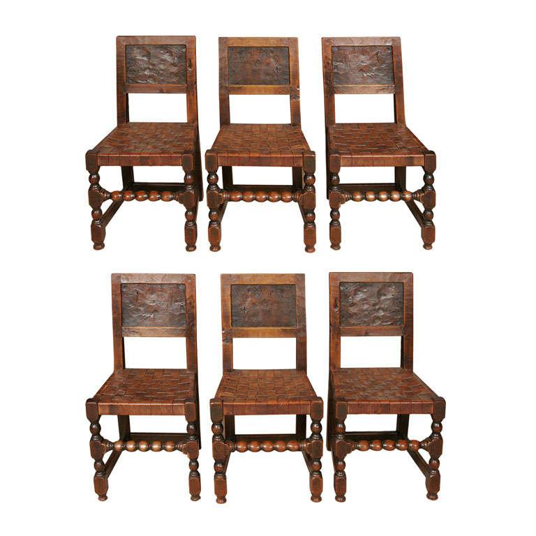 "An early set of six Robert ""Mouseman"" Thompson Oak chairs"
