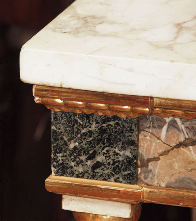 Pair Of  Marble Inlaid Italian Console Tables In Good Condition For Sale In New Orleans, LA