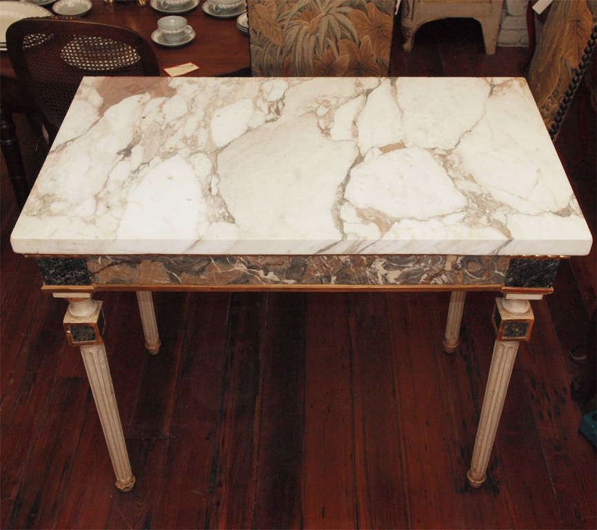 Pair Of  Marble Inlaid Italian Console Tables For Sale 2