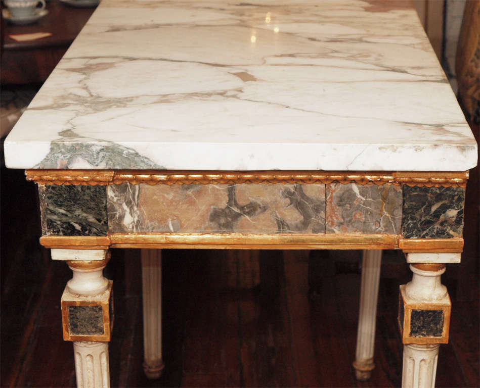 Pair Of  Marble Inlaid Italian Console Tables For Sale 3