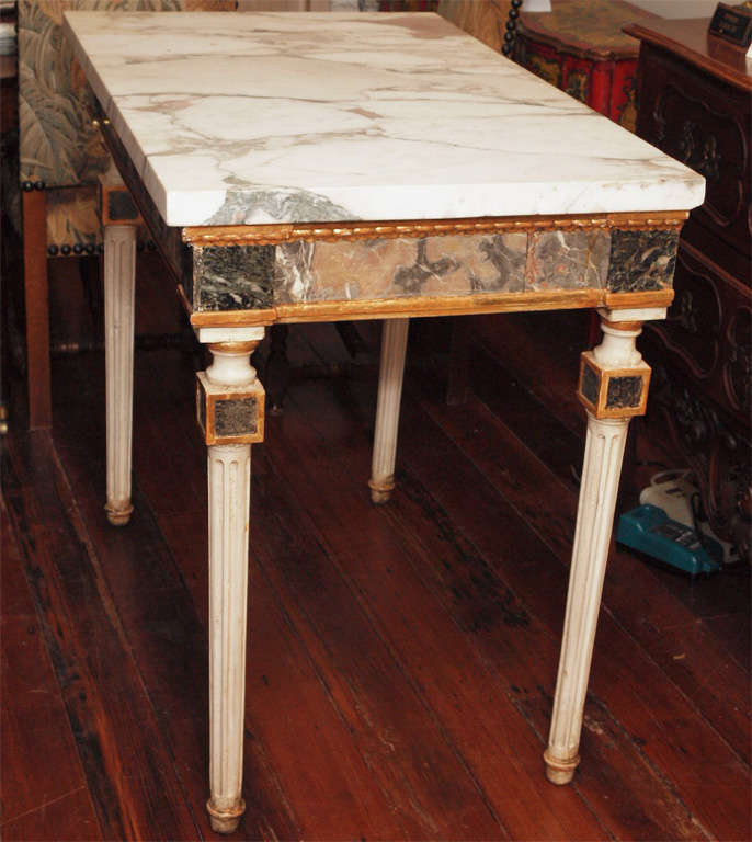 Pair Of  Marble Inlaid Italian Console Tables For Sale 4