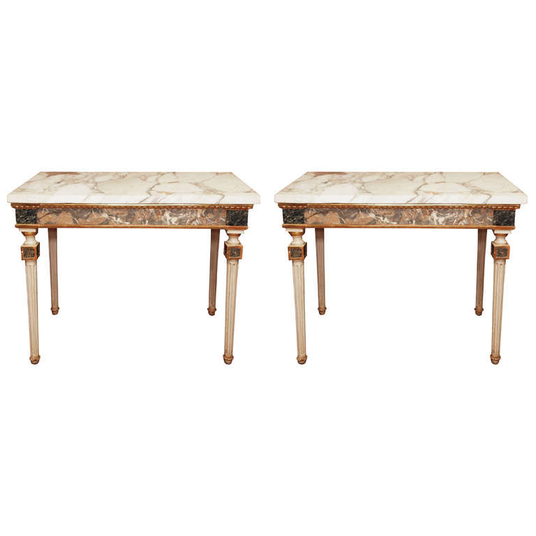 Pair Of  Marble Inlaid Italian Console Tables For Sale