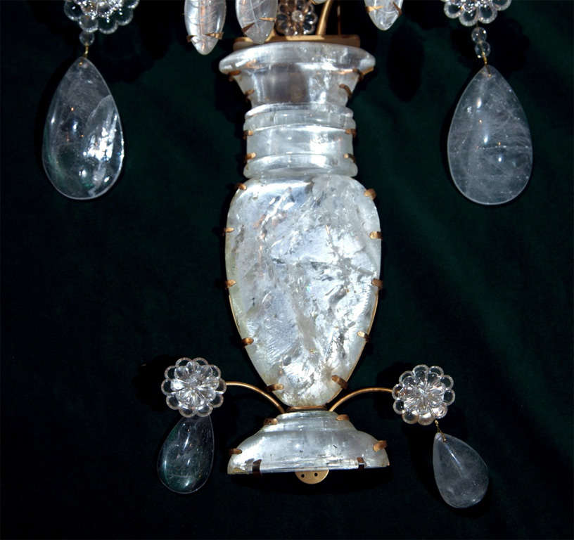 Pair 2 Light Rock Crystal Wall Sconces In Excellent Condition For Sale In Woodbury, CT
