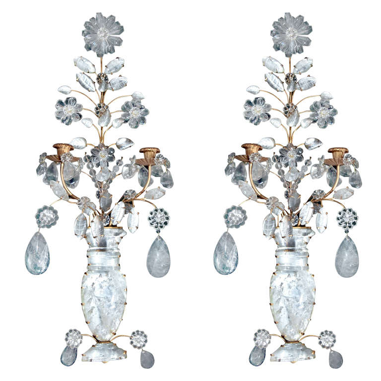 Pair 2 Light Rock Crystal Wall Sconces For Sale