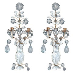 Pair 2 Light Rock Crystal Wall Sconces