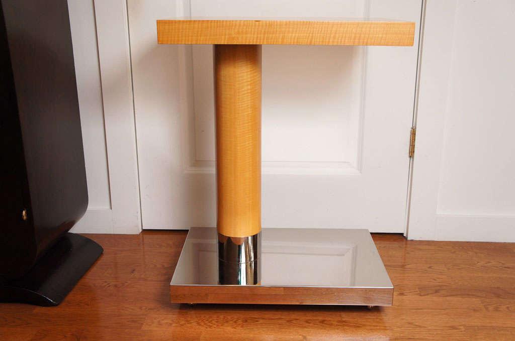 American Sycamore Veneer Rolling Nightstand For Sale
