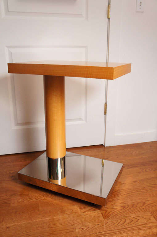 20th Century Sycamore Veneer Rolling Nightstand For Sale