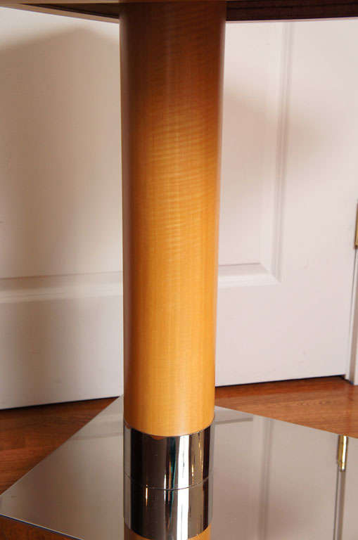 Chrome Sycamore Veneer Rolling Nightstand For Sale