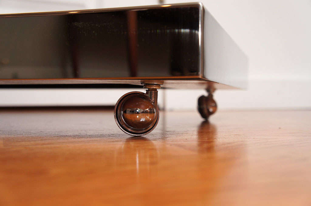 Sycamore Veneer Rolling Nightstand For Sale 2
