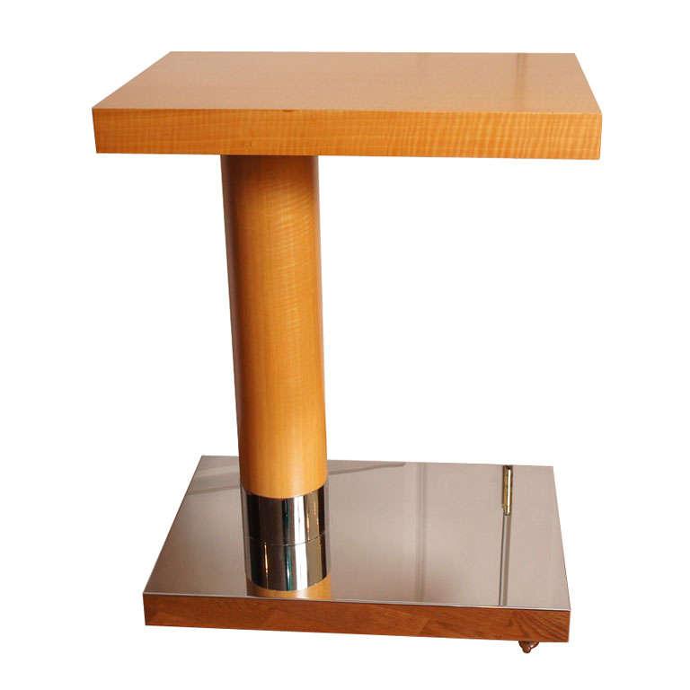 Sycamore Veneer Rolling Nightstand For Sale
