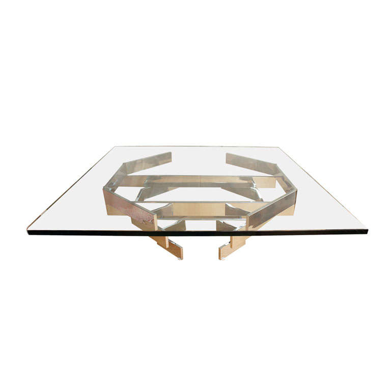 Mid Century Modern Chrome And Glass Coffee Table At 1stdibs