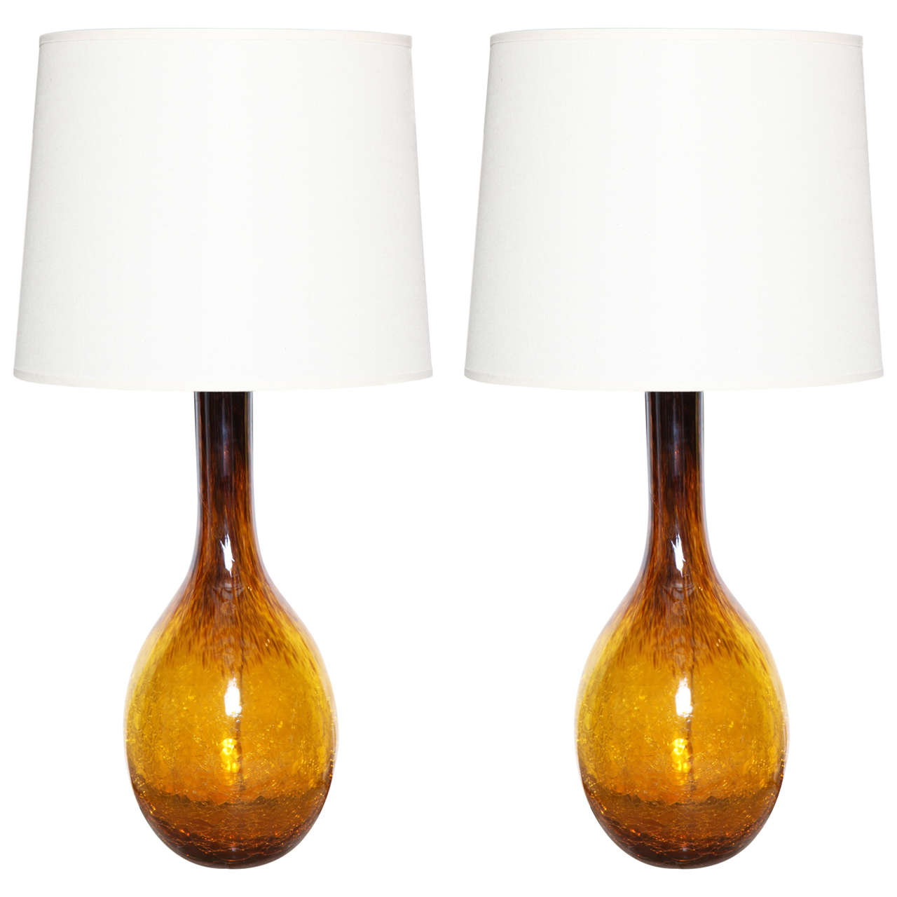Pair Of Amber Murano Glass Table Lamps At 1stdibs