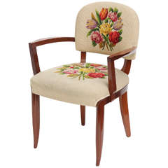 Armchair with Original Embroidered Upholstery by Jules Leleu