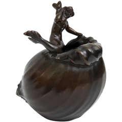 Just Andersen, Bronze Sculptural Vase, Denmark, C. 1930