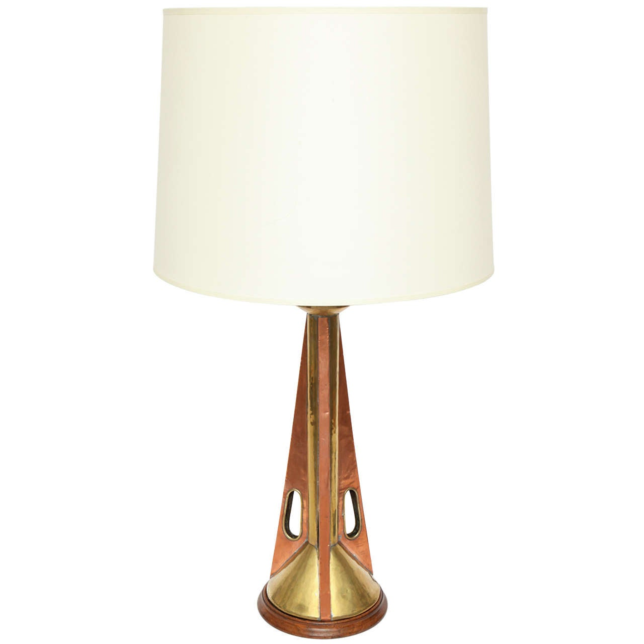 1960s Modernist Brass and Wood Table Lamp For Sale