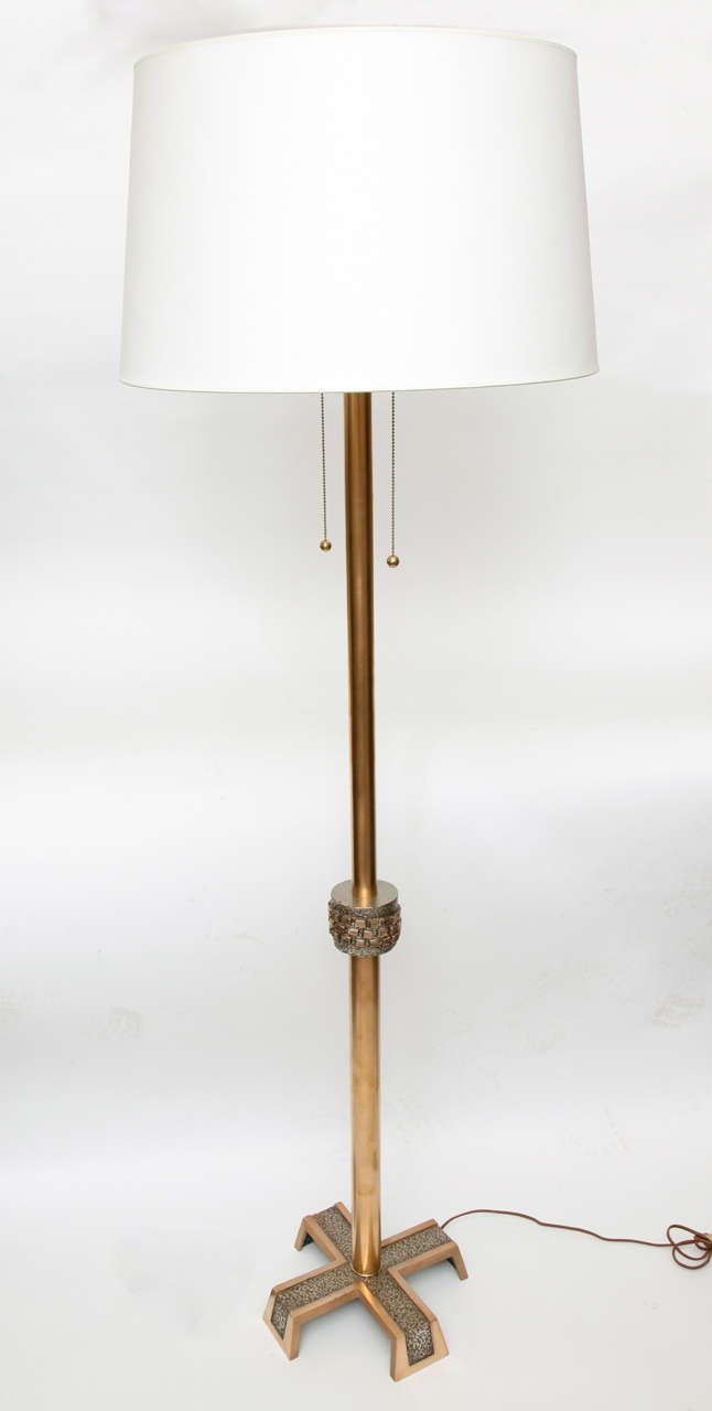 A 1960s modernist architectural floor lamp. Shade not included
